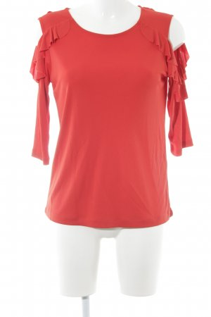 Uterqüe Rüschen-Bluse rot Elegant