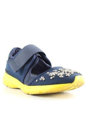 Uterqüe Slip-on Shoes yellow-dark blue extravagant style