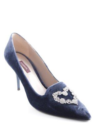 Uterqüe Zapatos de punta azul oscuro brillante