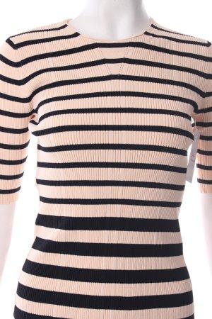 Uterqüe Strickshirt schwarz-nude Streifenmuster klassischer Stil