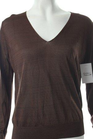 Uterqüe Strickshirt schwarzbraun meliert schlichter Stil