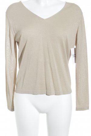 Uterqüe V-Neck Sweater gold-colored glittery