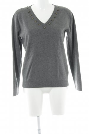 Uterqüe V-Ausschnitt-Pullover grau-anthrazit Casual-Look
