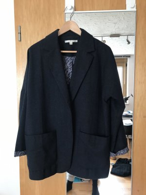 Uttam Boutique Blazer in lana blu scuro-grigio ardesia Lana