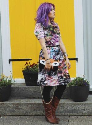 Uttam london Kurzarmkleid florales Muster extravaganter Stil