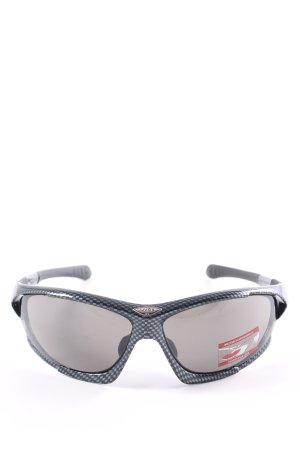 Uvex eckige Sonnenbrille schwarz-silberfarben Karomuster sportlicher Stil