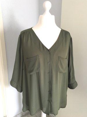 V-Ausschnitt Bluse Gr. 50 - olivgrün