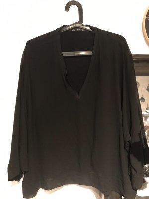 V-Ausschnitt Bluse mit transparenten Ärmeln