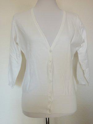 V Ausschnitt Cardigan off white Strickjacke weiss 40 42 NEU