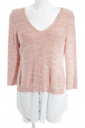 V-Neck Sweater apricot-white flecked 2-in-1 look