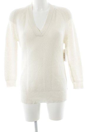 V-Ausschnitt-Pullover creme Casual-Look
