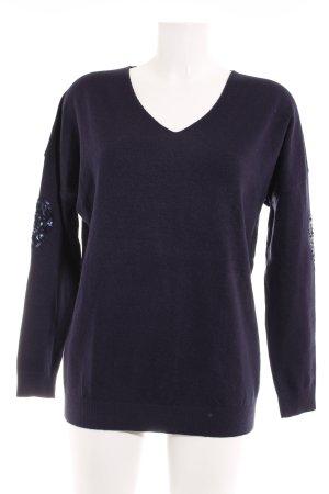 V-Ausschnitt-Pullover dunkelblau Casual-Look