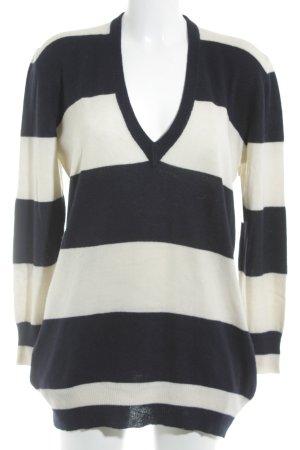 V-Ausschnitt-Pullover dunkelblau-creme Streifenmuster Casual-Look