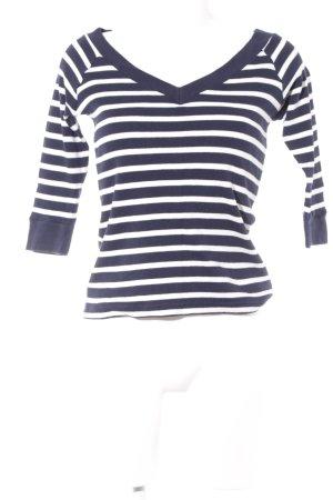 V-Ausschnitt-Pullover dunkelblau-weiß Streifenmuster Casual-Look