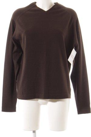 V-Ausschnitt-Pullover dunkelbraun klassischer Stil