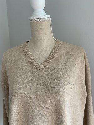Gant V-Neck Sweater camel cotton
