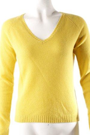 V-Ausschnitt-Pullover gelb