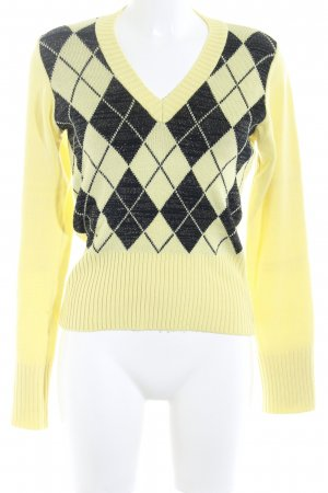V-Ausschnitt-Pullover gelb-schwarz Ikatmuster Casual-Look