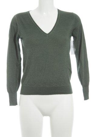 V-Ausschnitt-Pullover grüngrau Casual-Look