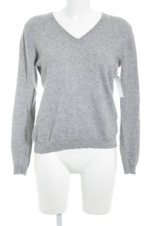 V-Ausschnitt-Pullover hellgrau Casual-Look