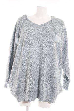 V-Ausschnitt-Pullover himmelblau-schwarz meliert Casual-Look