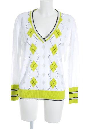 V-Ausschnitt-Pullover Karomuster Casual-Look