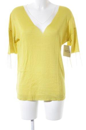 V-Ausschnitt-Pullover limettengelb extravaganter Stil