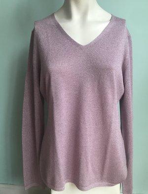V-Ausschnitt Pullover mit Lurex in Rosa/ hellem Pink