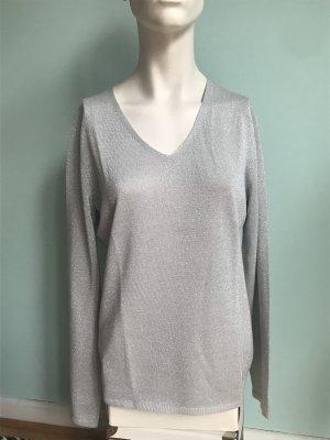 V Ausschnitt Pullover mit Lurex in Silber