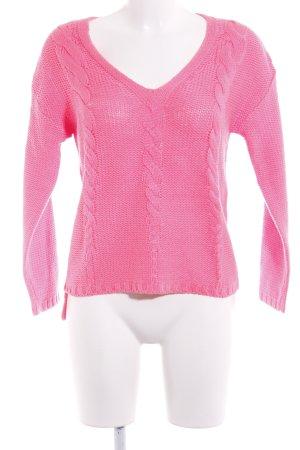 V-Ausschnitt-Pullover neonpink-pink Zopfmuster Casual-Look