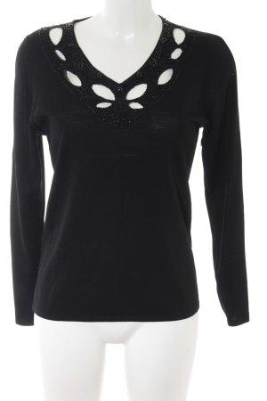 V-Ausschnitt-Pullover schwarz Casual-Look