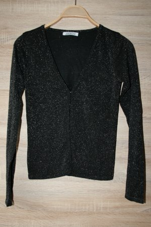 V-Neck Sweater black-silver-colored