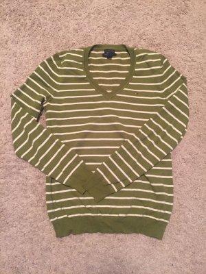 V-Ausschnitt Pullover Tommy Hilfiger gestreift olive-weiß