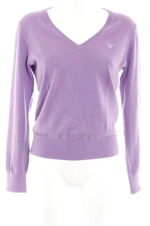 V-Ausschnitt-Pullover violett Casual-Look