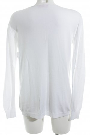 V-Ausschnitt-Pullover weiß-silberfarben Sternenmuster Casual-Look