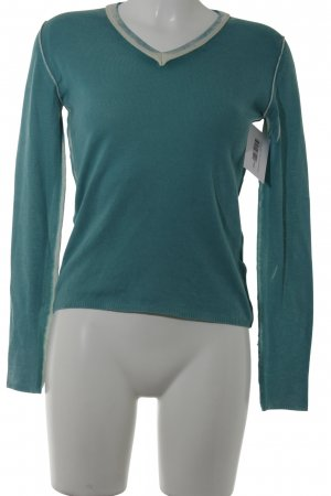 V-Ausschnitt-Pullover wollweiß-kadettblau Casual-Look