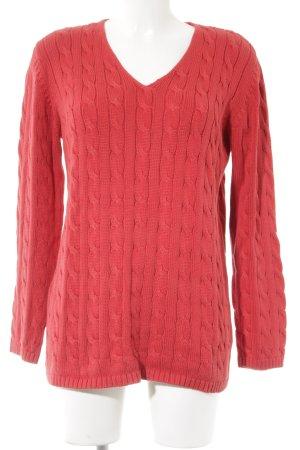 V-Ausschnitt-Pullover ziegelrot-rot Zopfmuster Antik-Look