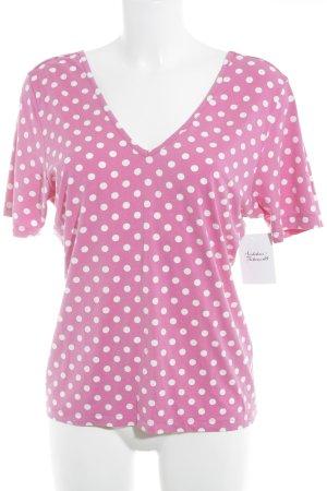 V-Ausschnitt-Shirt pink-weiß Punktemuster Hippie-Look
