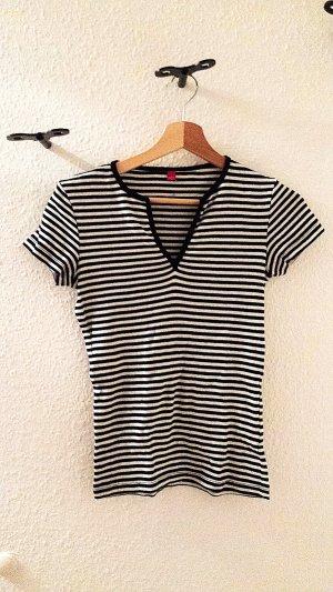 V-Ausschnitt-Shirt von Esprit, schwarz/weiss, Gr. 36