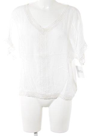 V-Ausschnitt-Shirt weiß Boho-Look