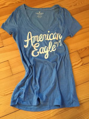 American Eagle Outfitters V-hals shirt lichtblauw-wit