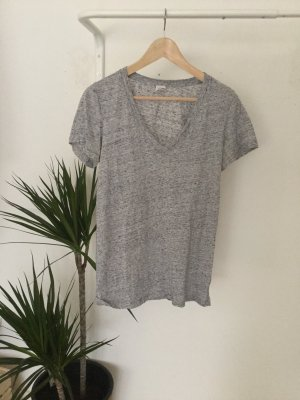 V-Ausschnitt T-Shirt grau meliert