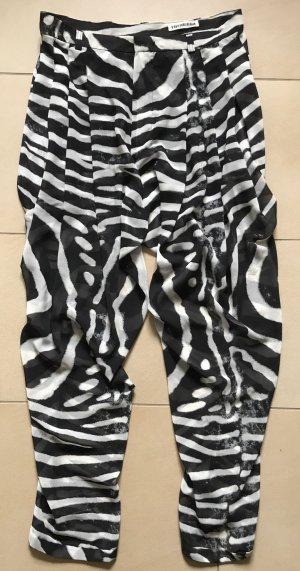 Pantalón estilo Harem negro-blanco Poliéster