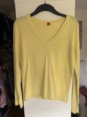 Esprit Jersey con cuello de pico amarillo