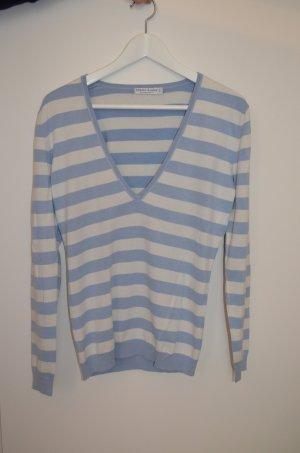 V-Neck-Pullover * Größe 36 * blau weiß gestreift * Marie Lund