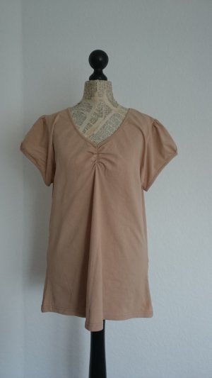 T-shirt col en V brun sable tissu mixte