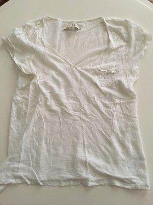 V-Neck T-Shirt von REISS London Grösse L creme weiss
