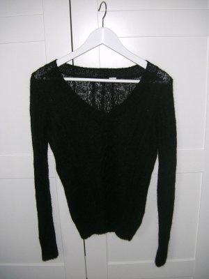V-Pullover, Pulli, Strickpullover, schwarz, H&M, Gr. 34