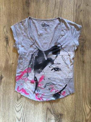 T-shirt col en V gris clair