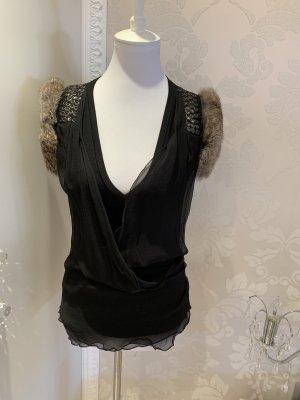 Parasuco T-shirt col en V noir-marron clair